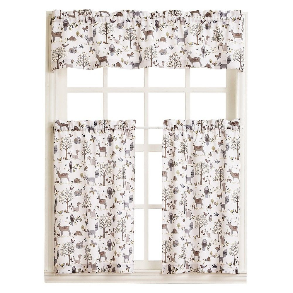 "Forest Friends Kitchen Tier Pair – Ivory (56"" X 24 In Forest Valance And Tier Pair Curtains (View 2 of 20)"