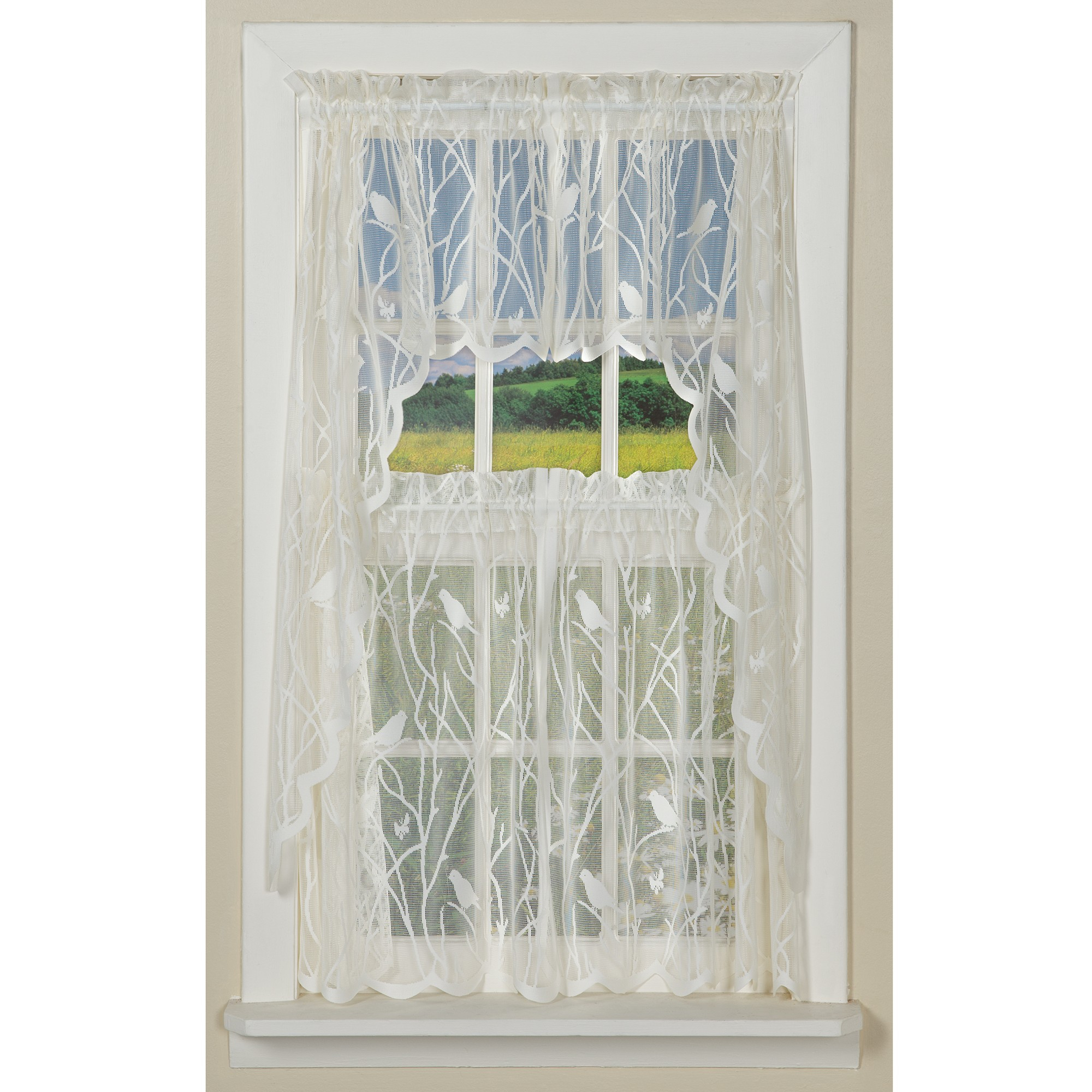 Forest Songbird Lace Curtain Collection With Forest Valance And Tier Pair Curtains (View 17 of 20)
