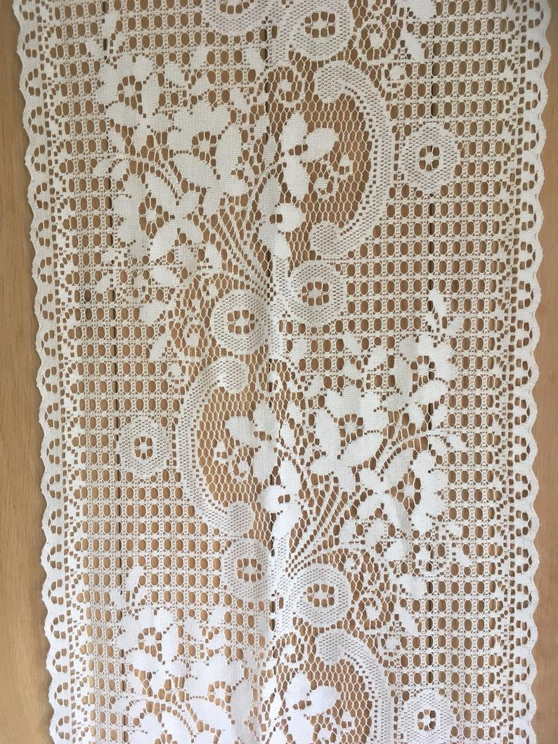 French Cream Lace Window Panel Curtain, Vintage Curtain , Cafe Curtain In Ivory Knit Lace Bird Motif Window Curtain (View 7 of 20)