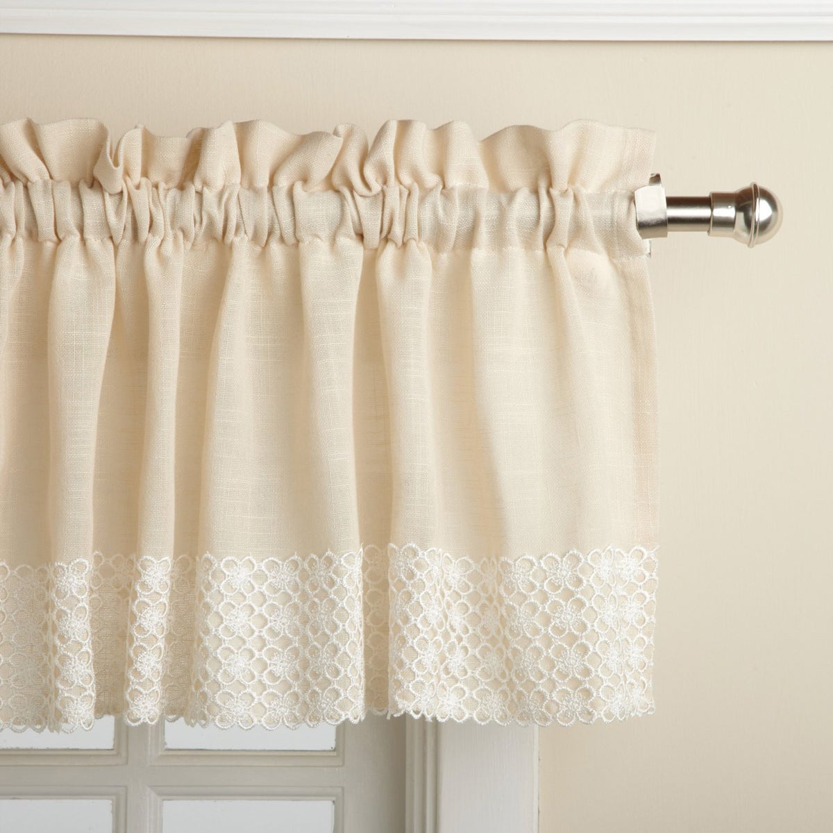 French Vanilla Country Style Curtain Parts With White Daisy Lace Accent Tier, Swag And Valance Options For Country Style Curtain Parts With White Daisy Lace Accent (View 9 of 20)