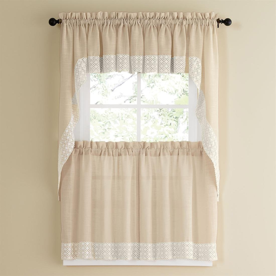 French Vanilla Country Style Curtain Parts With White Daisy Lace Accent Tier, Swag And Valance Options For Spring Daisy Tiered Curtain 3 Piece Sets (View 9 of 20)