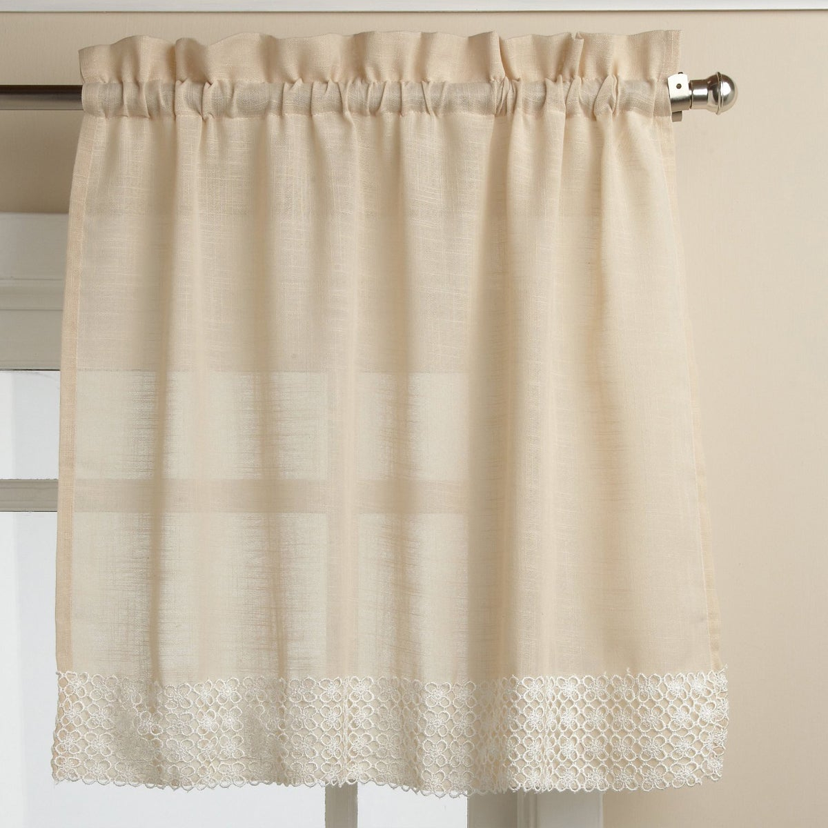 French Vanilla Country Style Curtain Parts With White Daisy Lace Accent Tier, Swag And Valance Options Pertaining To French Vanilla Country Style Curtain Parts With White Daisy Lace Accent (View 2 of 20)