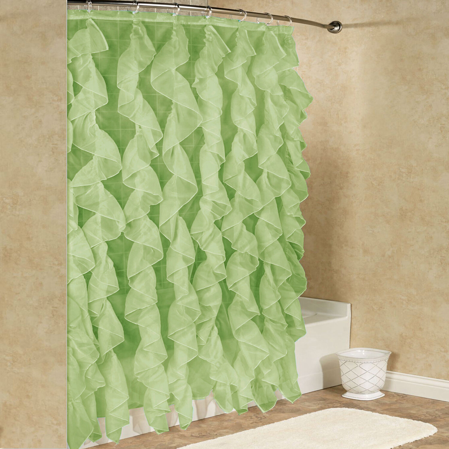 Fuhrman Chic Sheer Voile Vertical Waterfall Ruffled Single Hooks Shower Curtain For Chic Sheer Voile Vertical Ruffled Window Curtain Tiers (View 13 of 20)