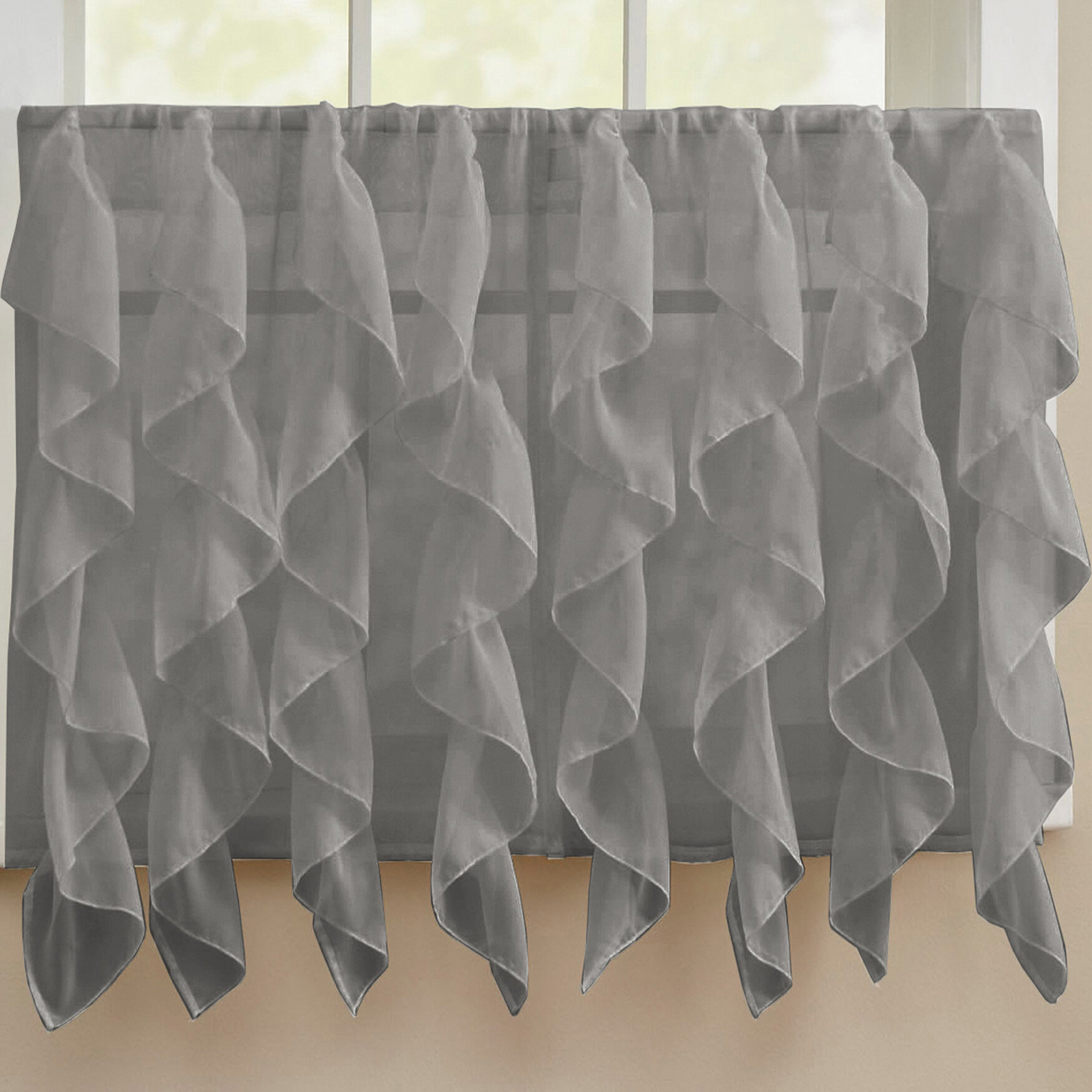 Fulgham Chic Sheer Voile Vertical Cafe Curtain With Chic Sheer Voile Vertical Ruffled Window Curtain Tiers (View 14 of 20)