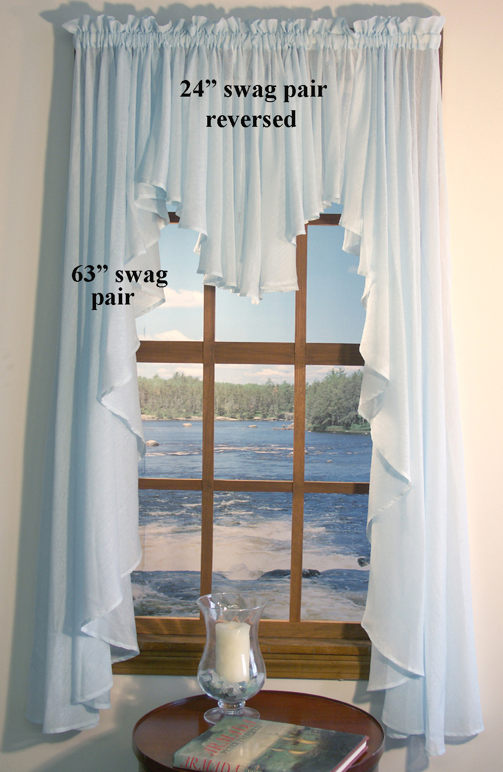 Full Bodied Swag – Sea Glass Regarding Forest Valance And Tier Pair Curtains (View 12 of 20)