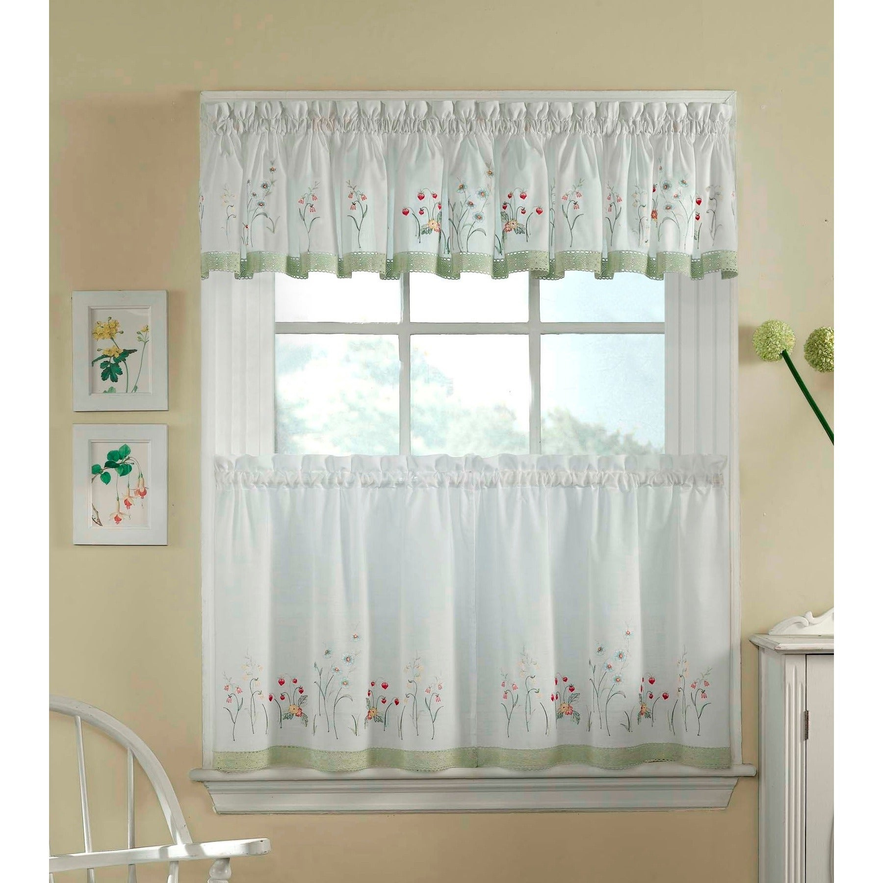 Garden Flowers 3 Piece Curtain Tier And Valance Set Within Spring Daisy Tiered Curtain 3 Piece Sets (View 10 of 20)