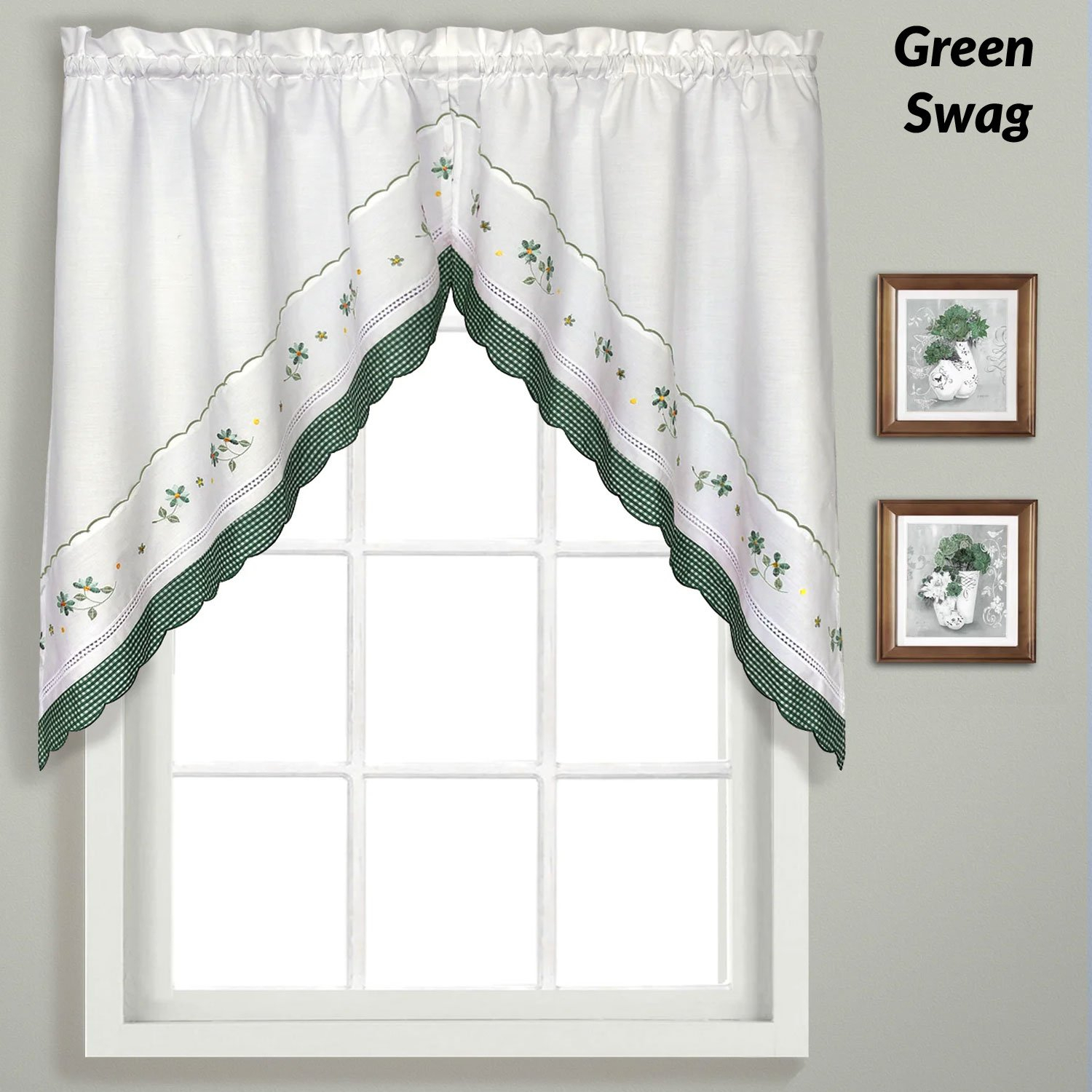 Gingham Embroidered Kitchen Tiers, Valance, And Swags | Products For Abby Embroidered 5 Piece Curtain Tier And Swag Sets (Image 11 of 20)