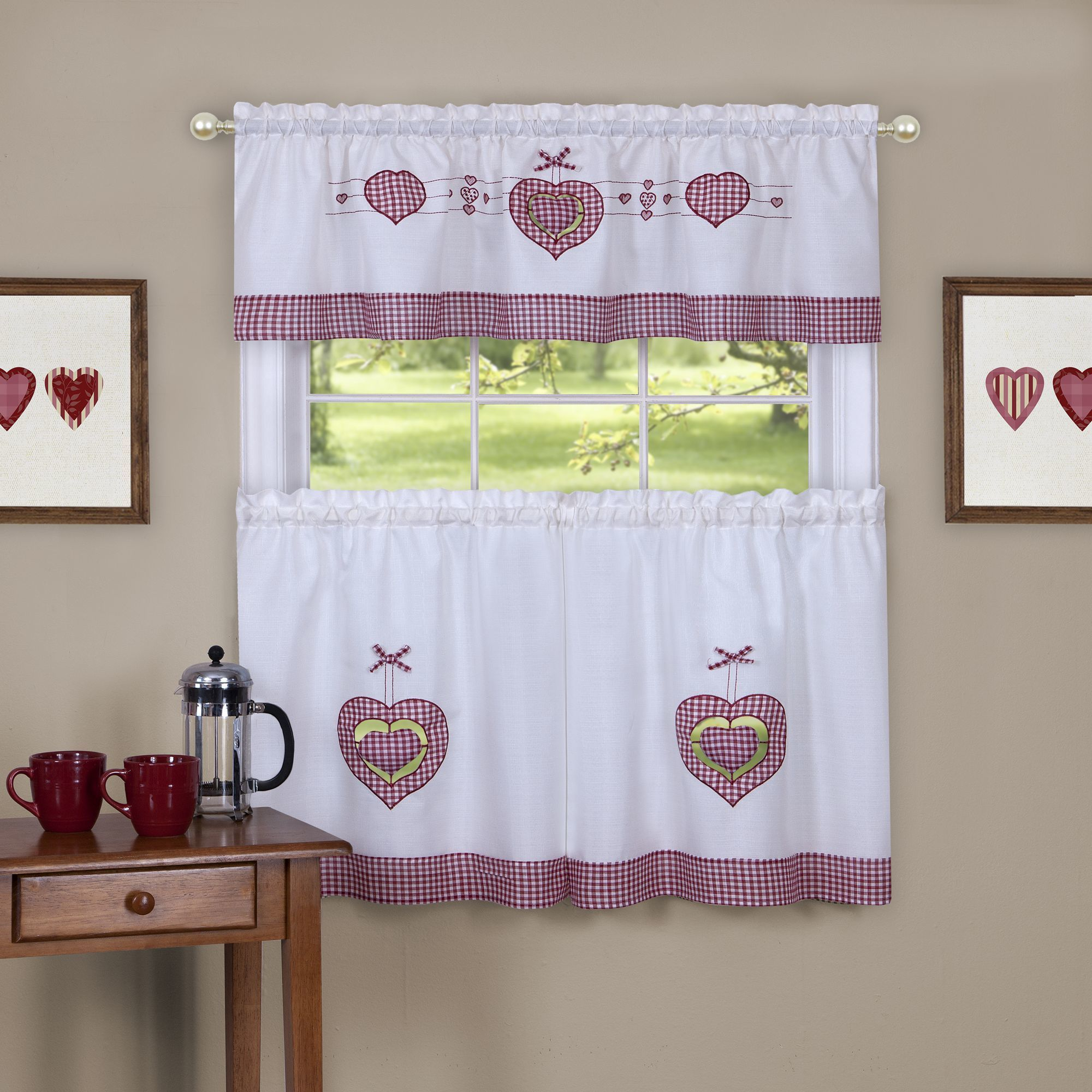 Gingham Hearts Multicolor Embellished Tier And Valance Window Curtain Set Intended For Coastal Tier And Valance Window Curtain Sets (View 15 of 20)