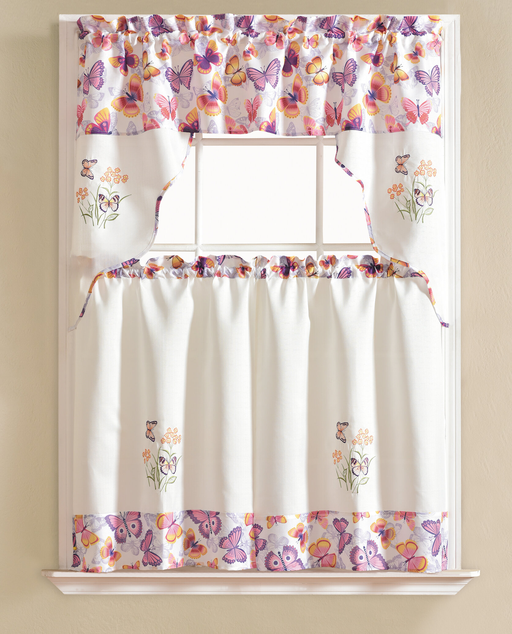 "Gironde Butterfly 60"" Cafe Curtain Regarding Window Curtains Sets With Colorful Marketplace Vegetable And Sunflower Print (View 11 of 20)"