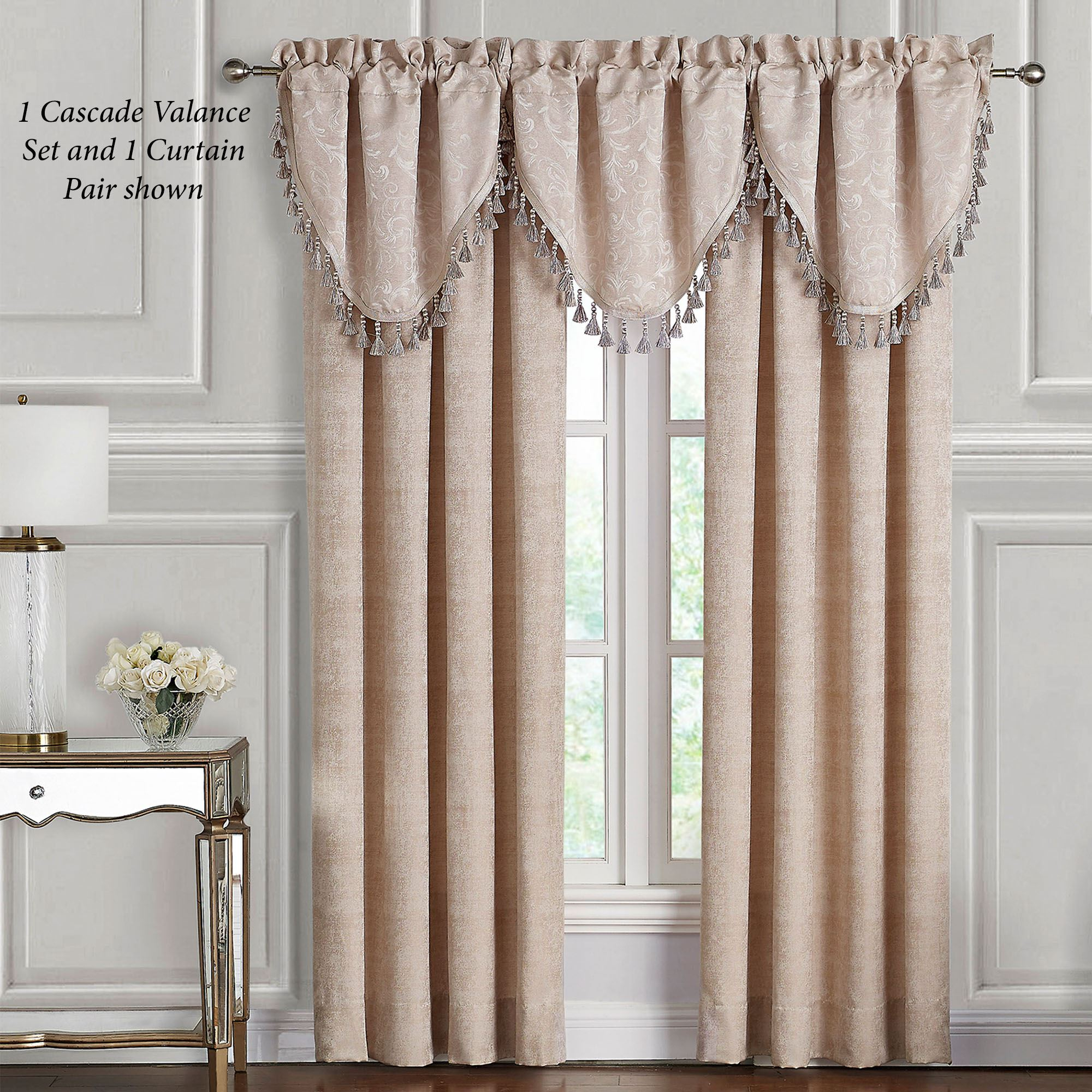 Gisella Acanthus Leaf Window Treatmentwaterford Linens With Scroll Leaf 3 Piece Curtain Tier And Valance Sets (View 14 of 20)