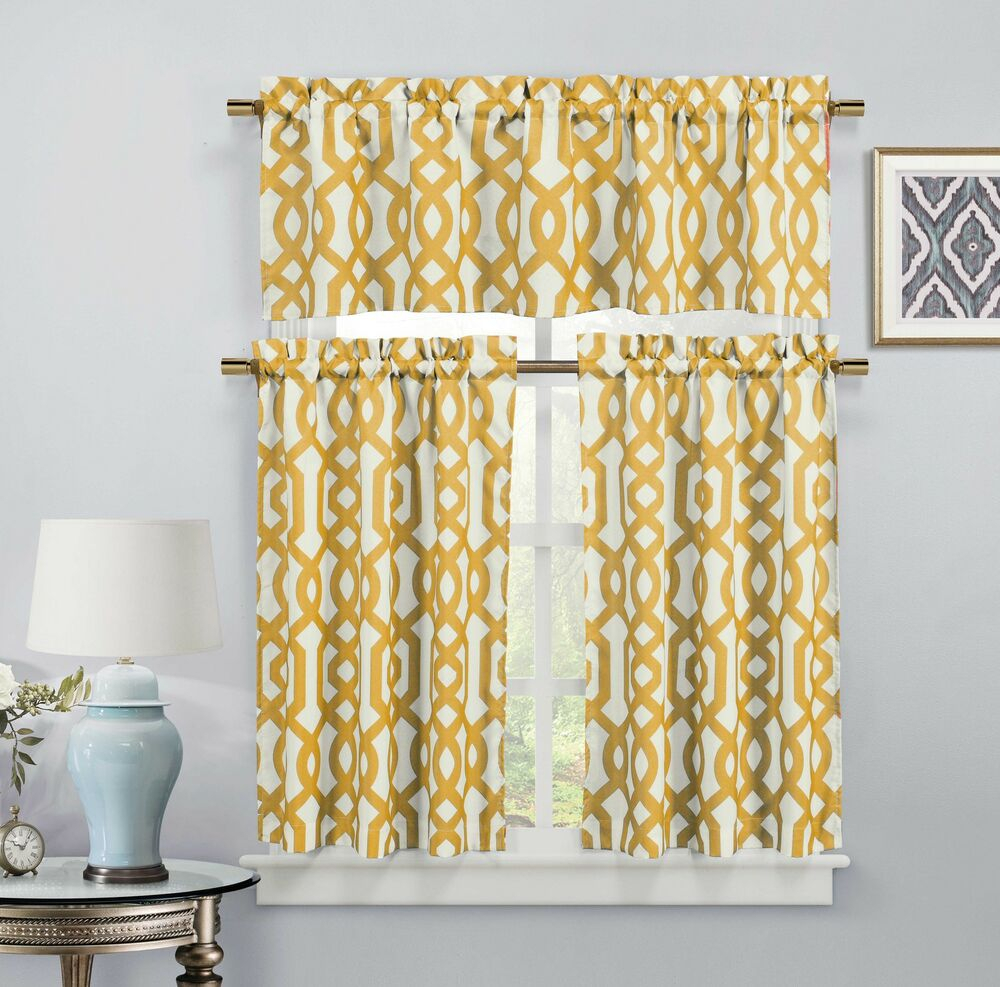 Gold 3 Piece Window Curtain Set: Imperial Trellis Design, 2 Tiers, 1  Valance | Ebay within Dexter 24 Inch Tier Pairs in Green (Image 8 of 20)