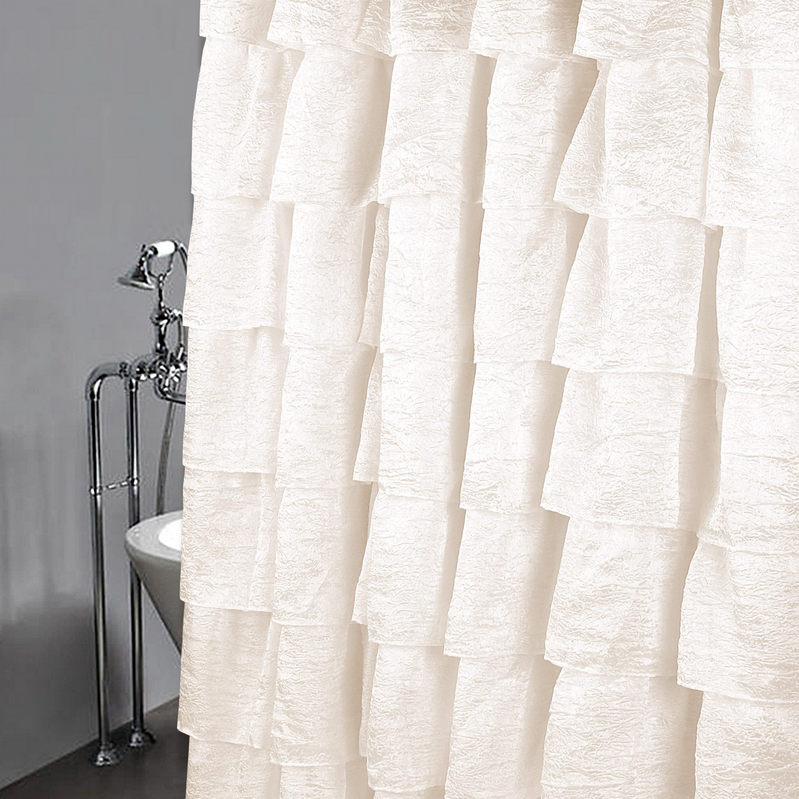"""Golden Linens Crushed One Piece Voile Sheer Shabby Chic Gypsy Ruffle Window Curtain Panel (shower Curtain 70"""" X 72"""", Ivory) With Elegant Crushed Voile Ruffle Window Curtain Pieces (View 5 of 20)"""