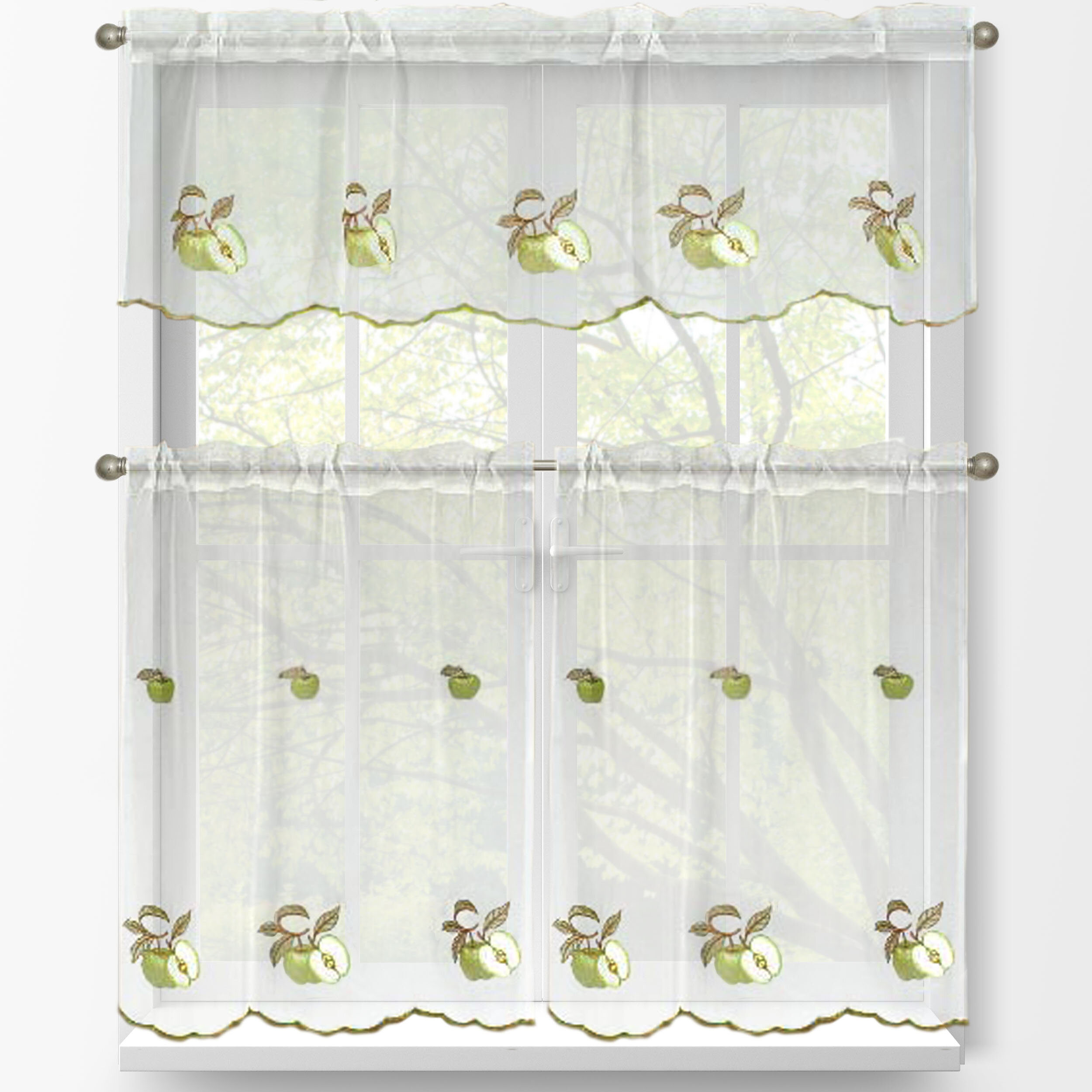 Green Apples 3 Piece Embroidered Kitchen Tier And Valance Set Inside Window Curtain Tier And Valance Sets (View 13 of 20)
