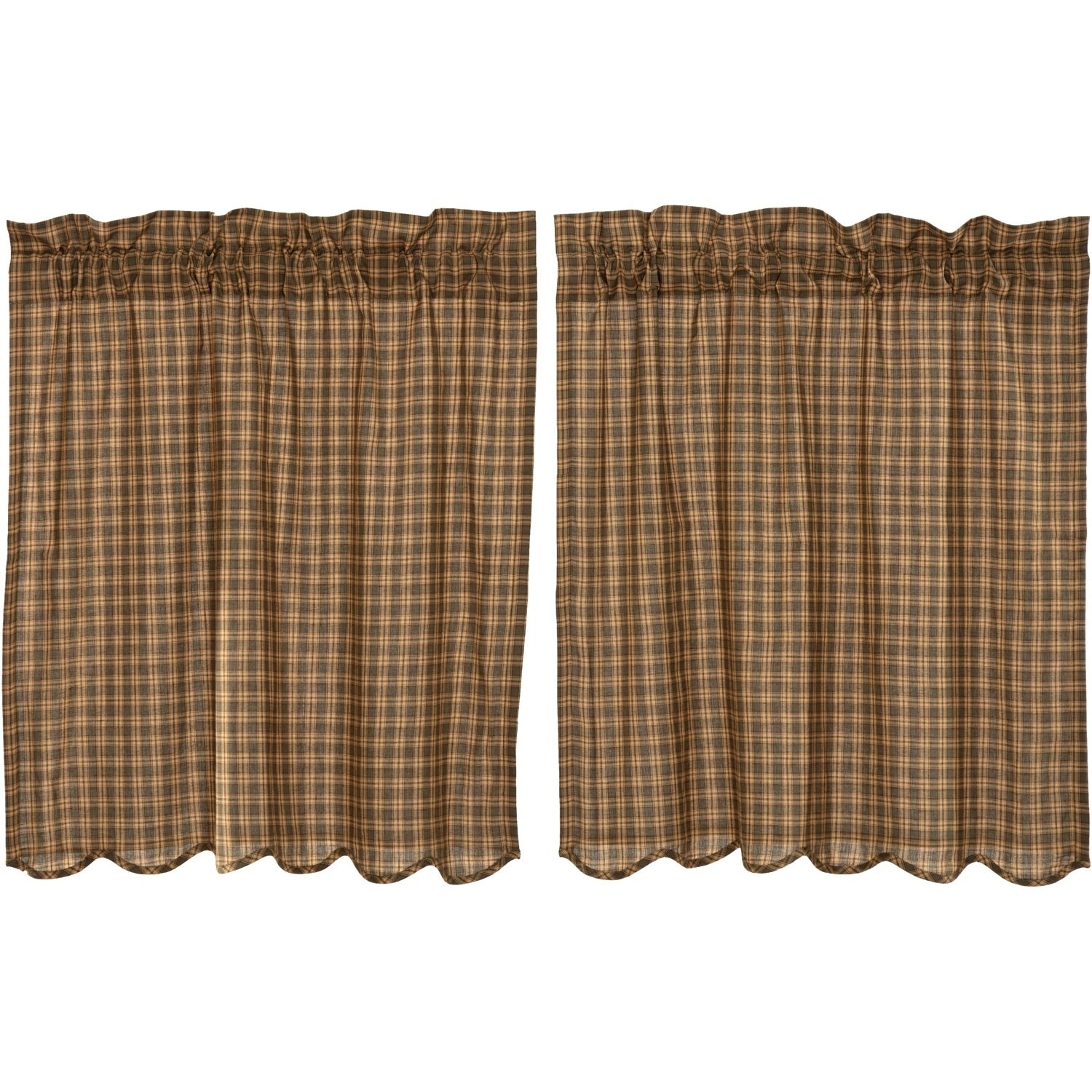 Green Rustic Kitchen Curtains Vhc Cedar Ridge Tier Pair Rod Pocket Cotton Plaid Inside Dexter 24 Inch Tier Pairs In Green (View 11 of 20)
