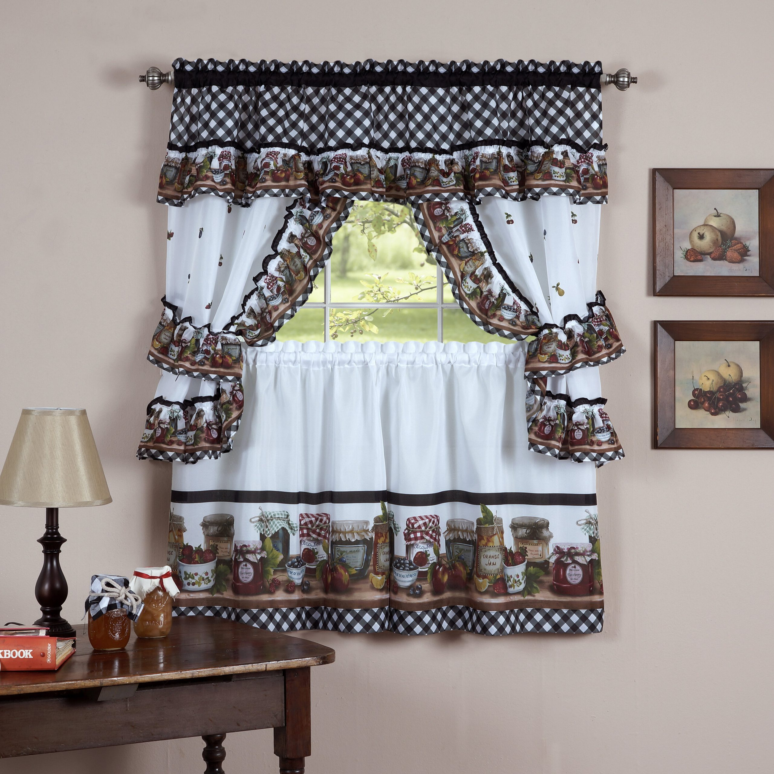 Guimauve Mason Jar Cottage Kitchen Window Treatment Set With Regard To Complete Cottage Curtain Sets With An Antique And Aubergine Grapvine Print (View 12 of 20)