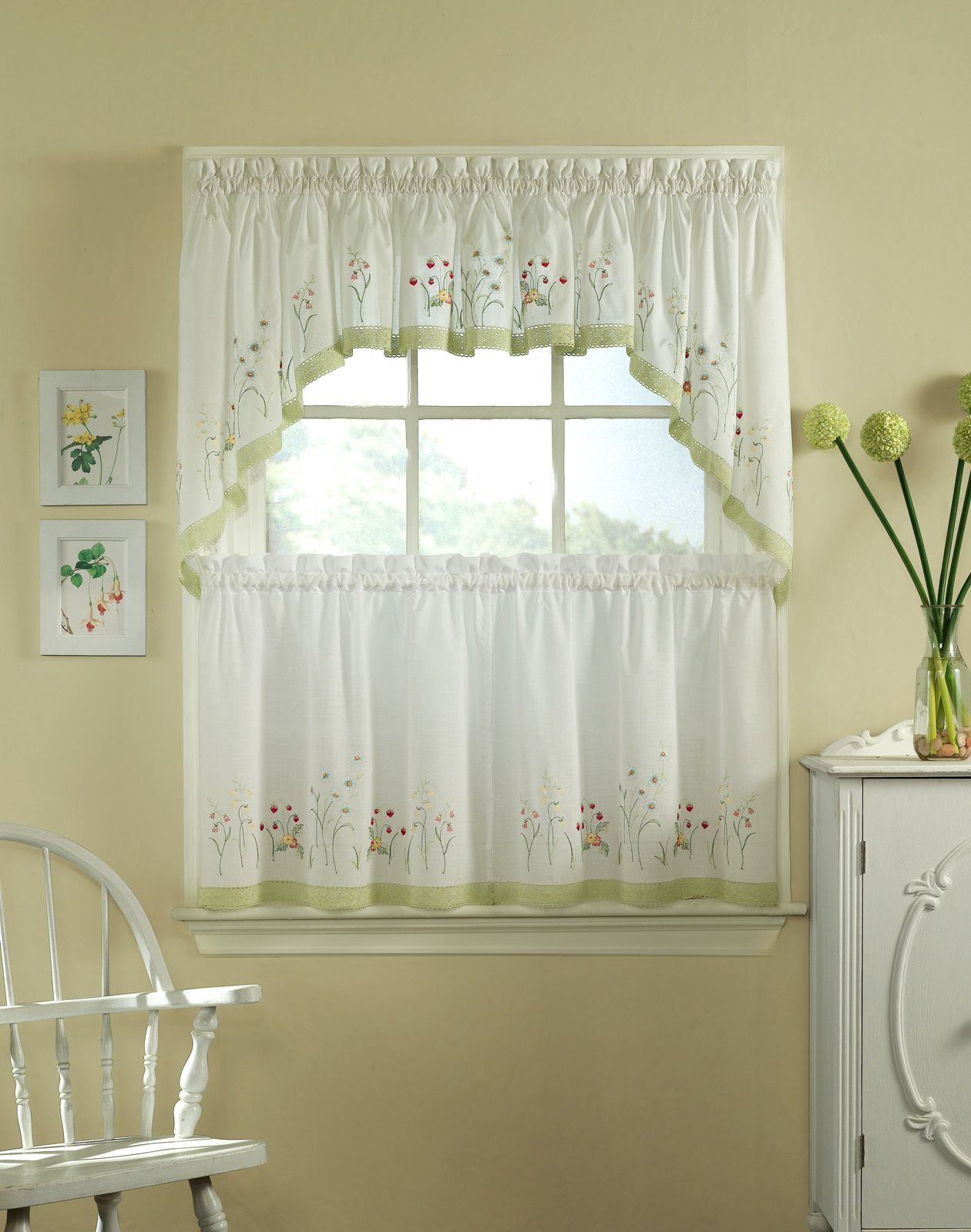 Half Window Curtains Ideas | Kitchen Curtains, Kitchen Pertaining To Micro Striped Semi Sheer Window Curtain Pieces (View 14 of 20)