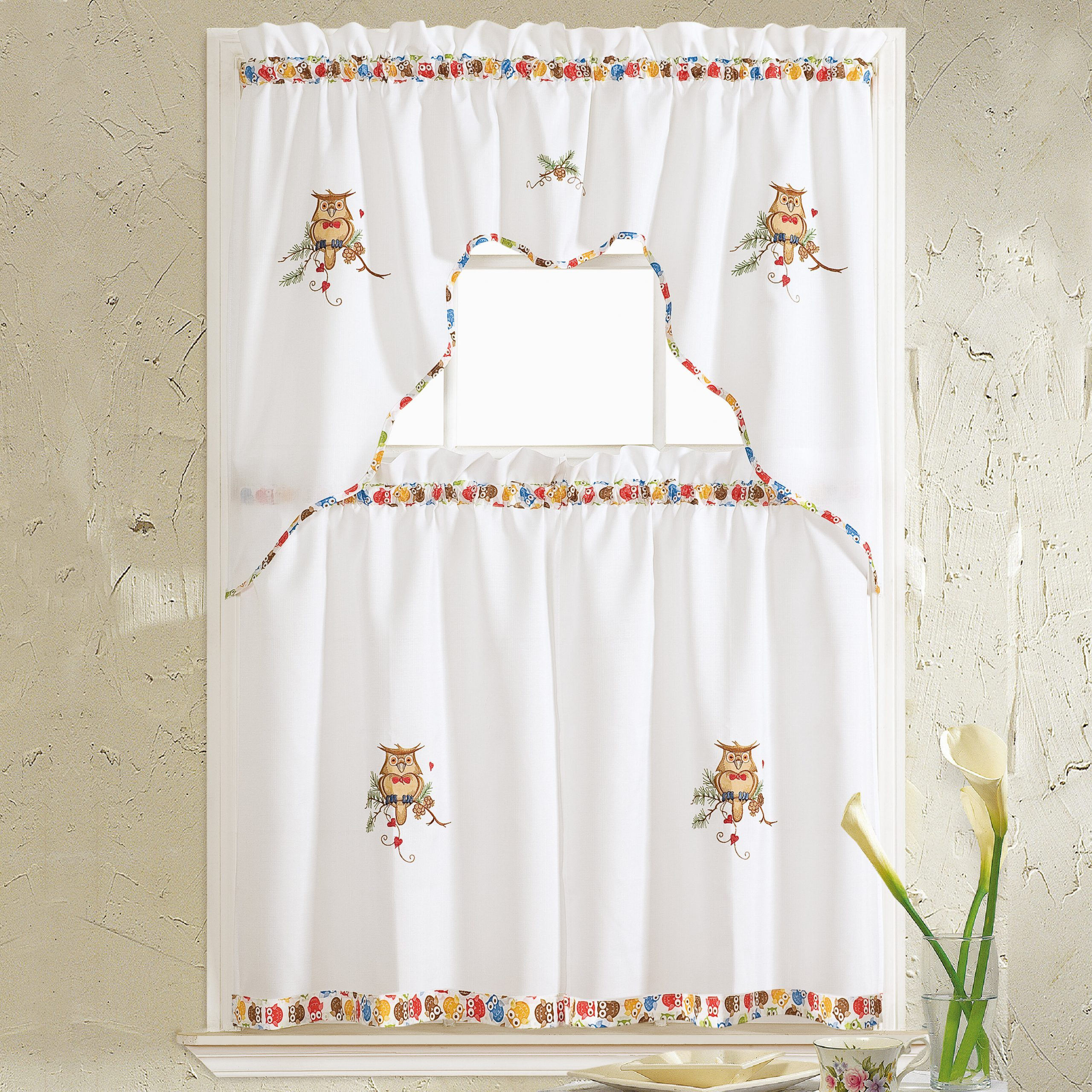 Hartlepool Owl 36'' Kitchen Curtain In Window Curtains Sets With Colorful Marketplace Vegetable And Sunflower Print (View 13 of 20)