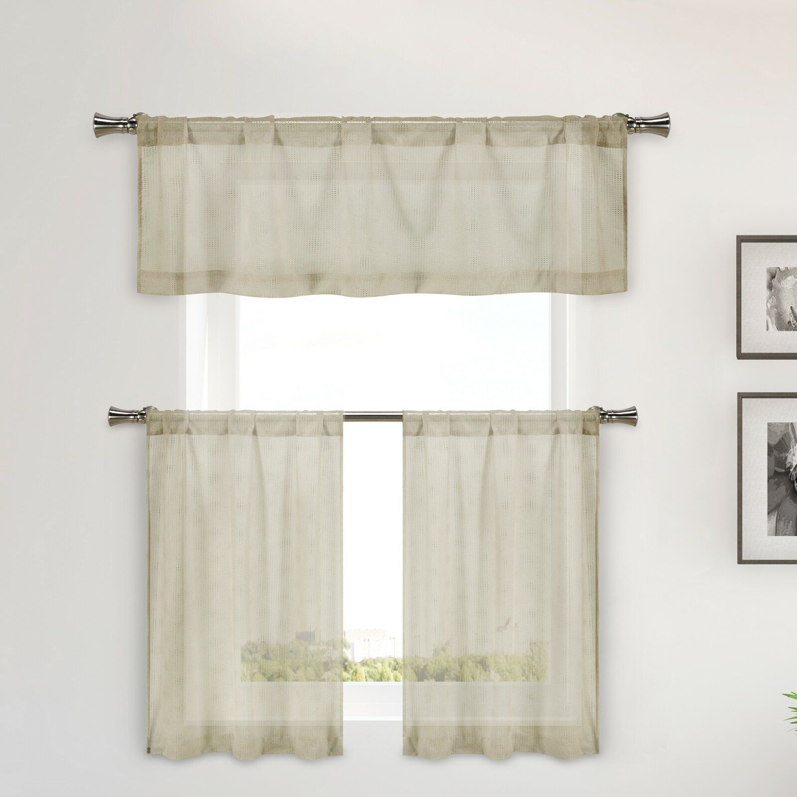 Hayse 3 Piece Metallic Semi Sheer Kitchen Curtain Set In Abby Embroidered 5 Piece Curtain Tier And Swag Sets (Image 12 of 20)