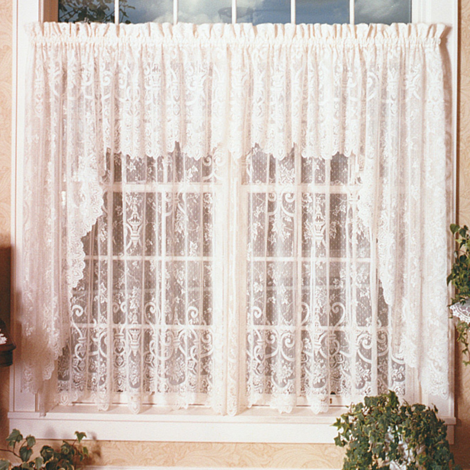 Heritage Lace English Ivy Swag Pair White | Products In 2019 For French Vanilla Country Style Curtain Parts With White Daisy Lace Accent (View 20 of 20)