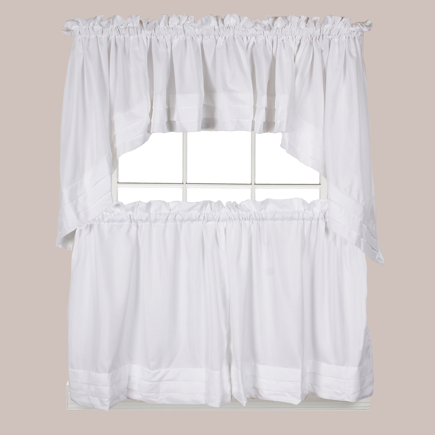 Holden White Tier Curtains   Products   Tier Curtains, White Within Flinders Forge 30 Inch Tiers In Dove Grey (View 13 of 20)