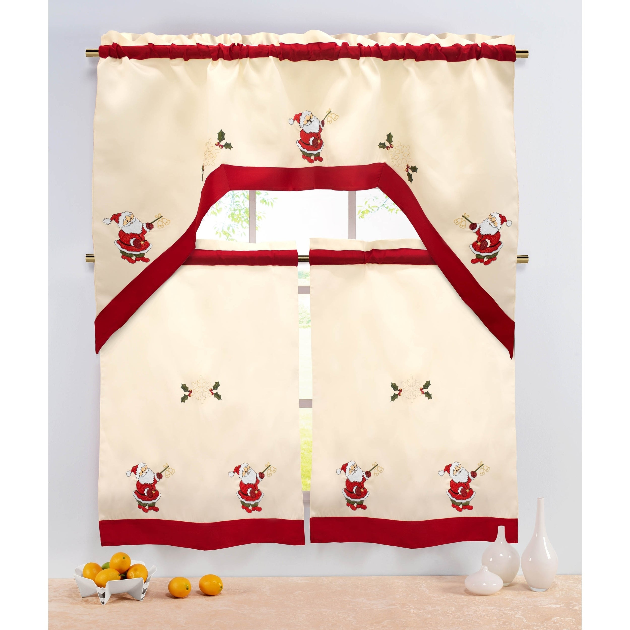 Holiday Santa Embroidered Sheer 3 Piece Kitchen Tier Set – 60 X 72 Within Embroidered Ladybugs Window Curtain Pieces (View 20 of 20)