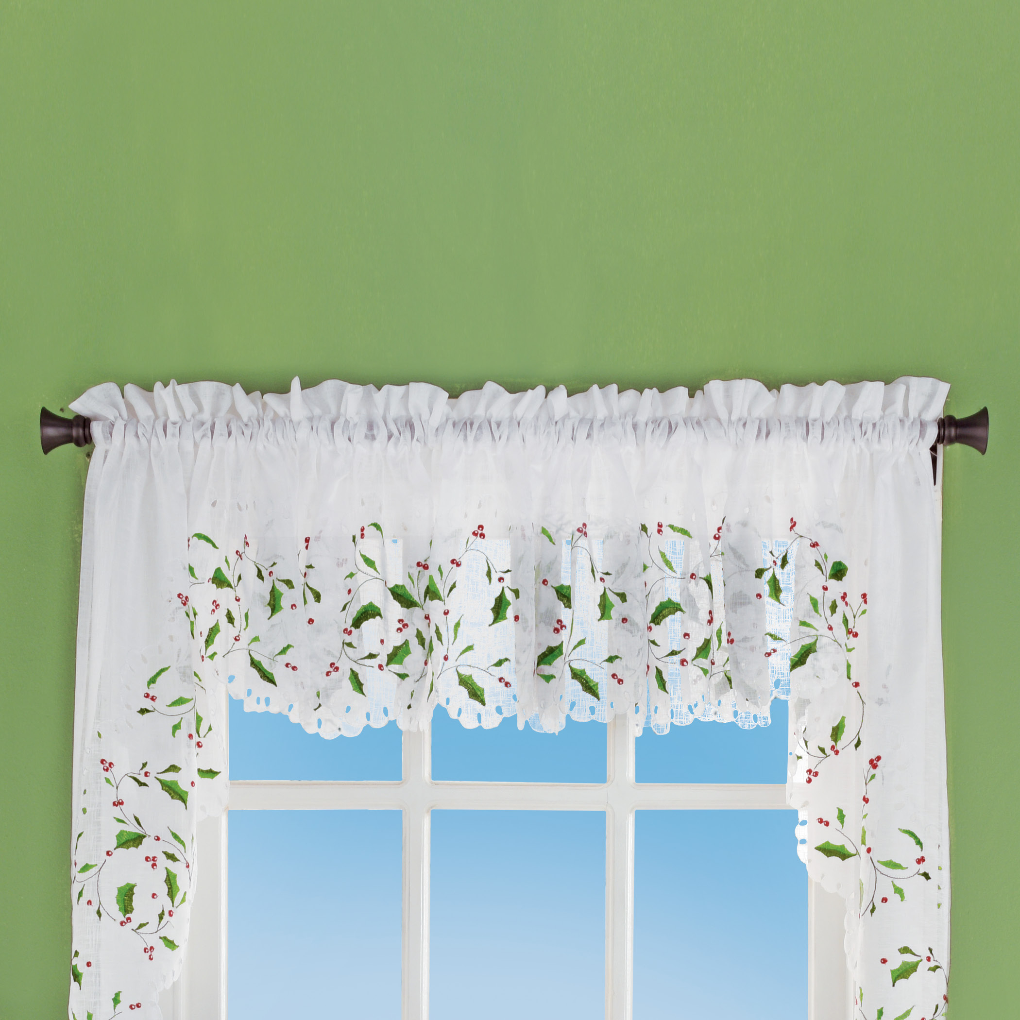 Holly Embroidered Window Curtains With Rod Pocket Top Throughout Embroidered Rod Pocket Kitchen Tiers (View 15 of 20)