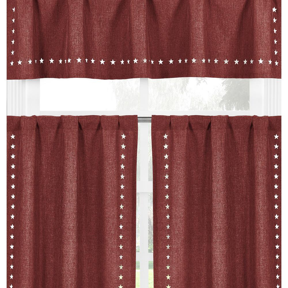 Home Maison Conor Stars Burgundy Kitchen Curtain Set – 58 In. W X 15 In (View 9 of 20)