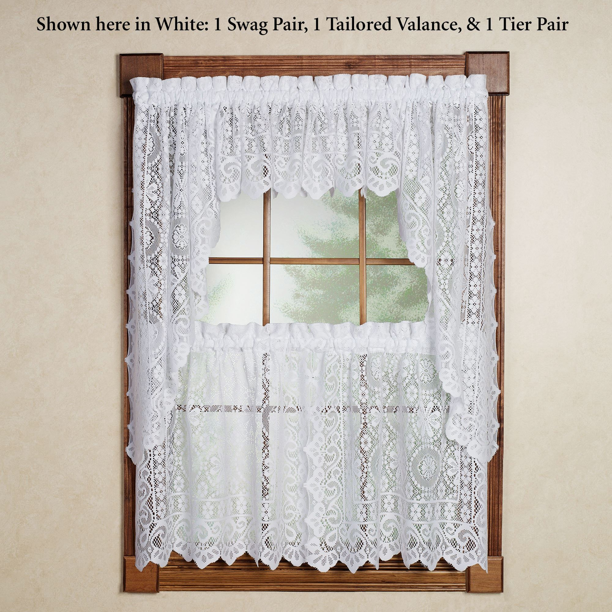 Hopewell Lace Tier Window Treatment Inside Serene Rod Pocket Kitchen Tier Sets (View 13 of 20)
