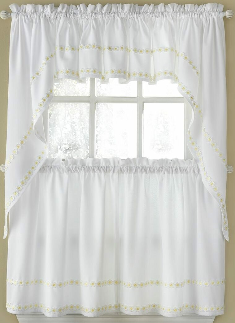 """Horrell Faux Linen Daisy Floral Applique Tailored 56"""" Kitchen Curtain Regarding Spring Daisy Tiered Curtain 3 Piece Sets (View 11 of 20)"""