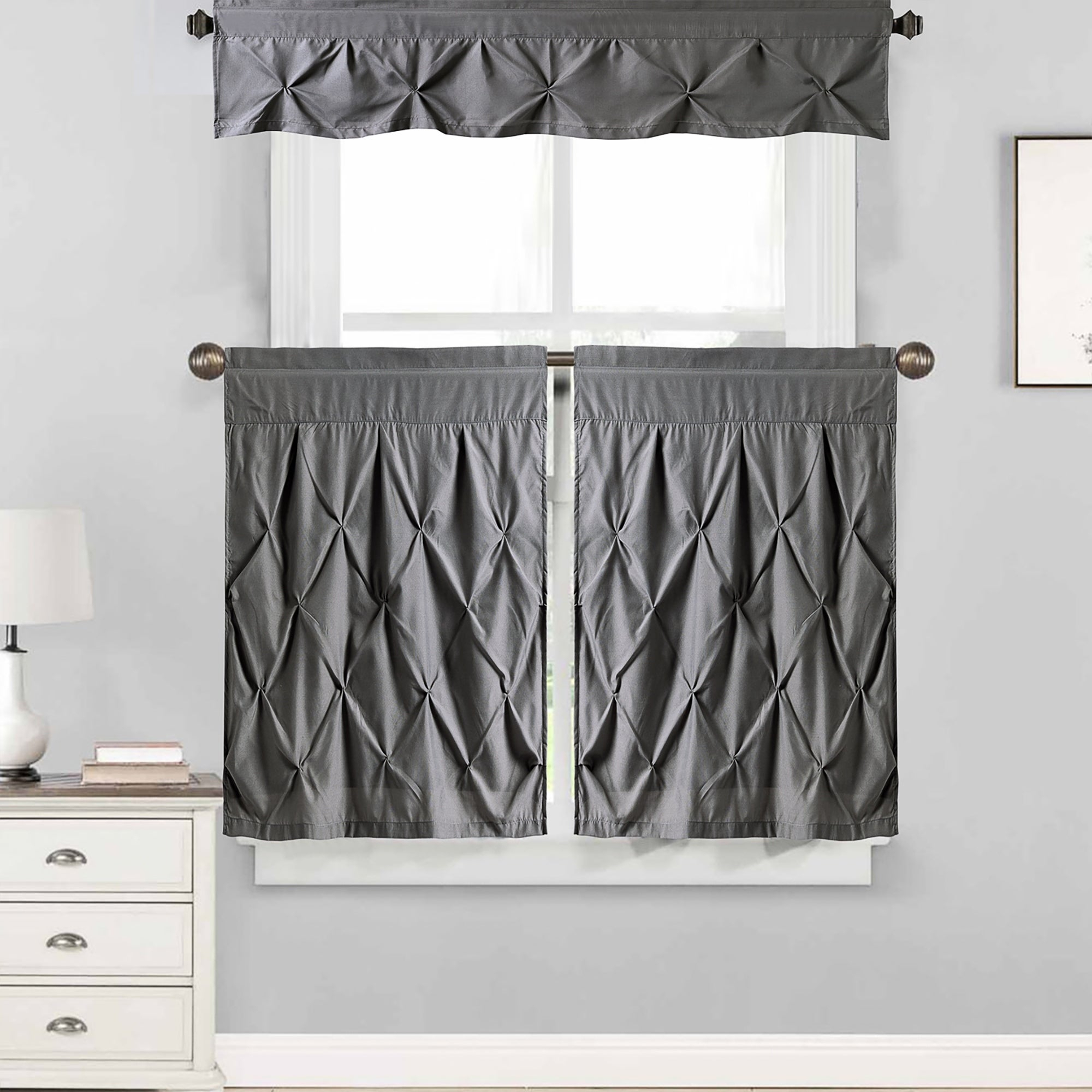 "Hudson Pintuck Window Curtain Tier And Valance Set (24""l Or 36""l) Grey Intended For Grey Window Curtain Tier And Valance Sets (View 2 of 20)"