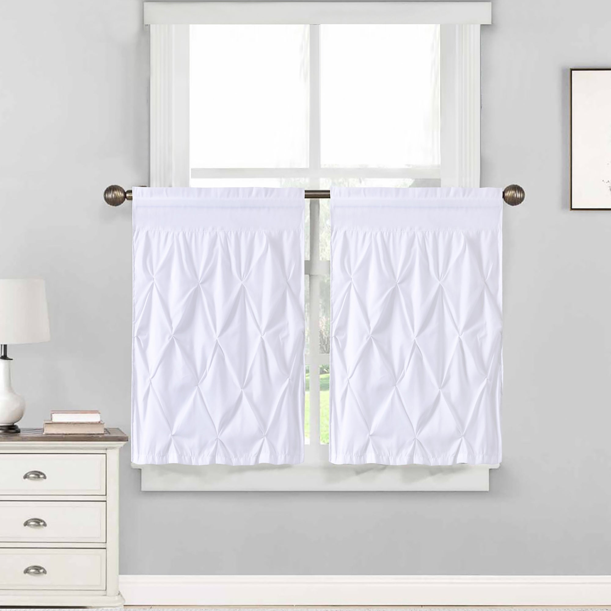 """Hudson Pintuck Window Curtain Tier Pair (24""""x30"""") White – 36 Inch Throughout Tree Branch Valance And Tiers Sets (View 15 of 20)"""