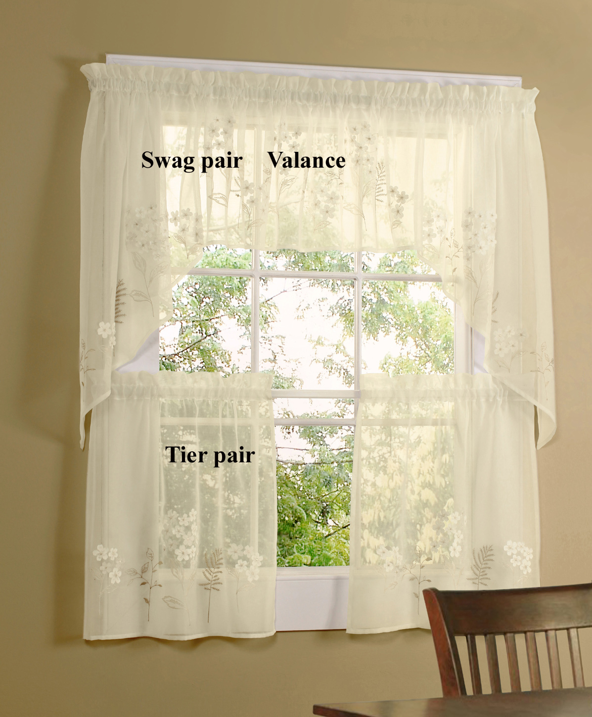 Hydrangea Bouquet Faux Linen Semi Sheer Cafe Curtain, Swag, And Valance Inside Coffee Embroidered Kitchen Curtain Tier Sets (View 11 of 20)