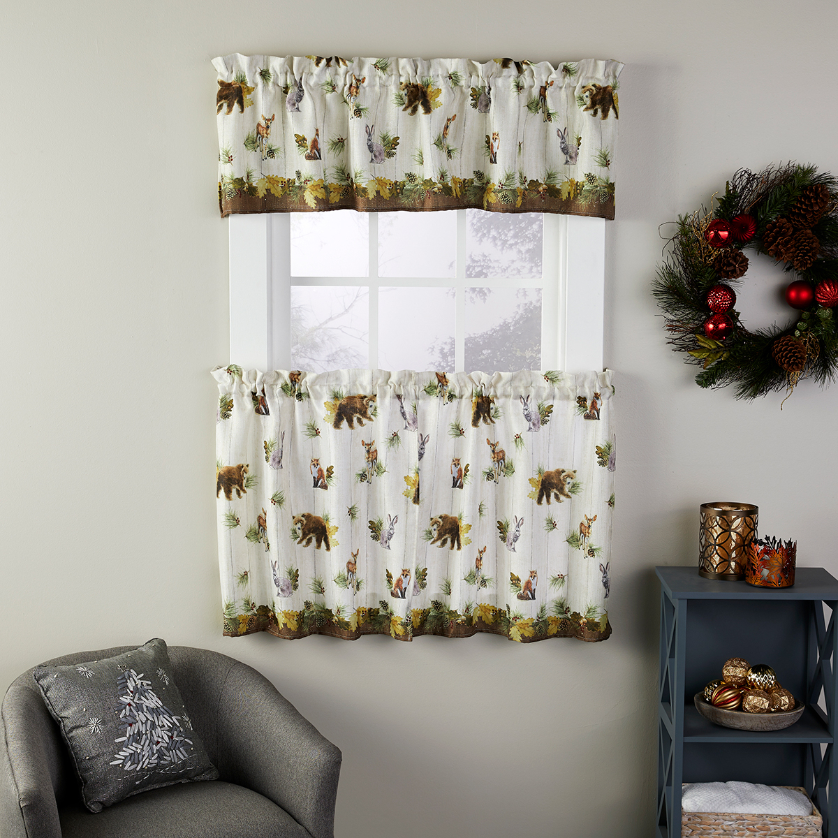 Into The Woods Print Kitchen Curtain For Tree Branch Valance And Tiers Sets (View 19 of 20)