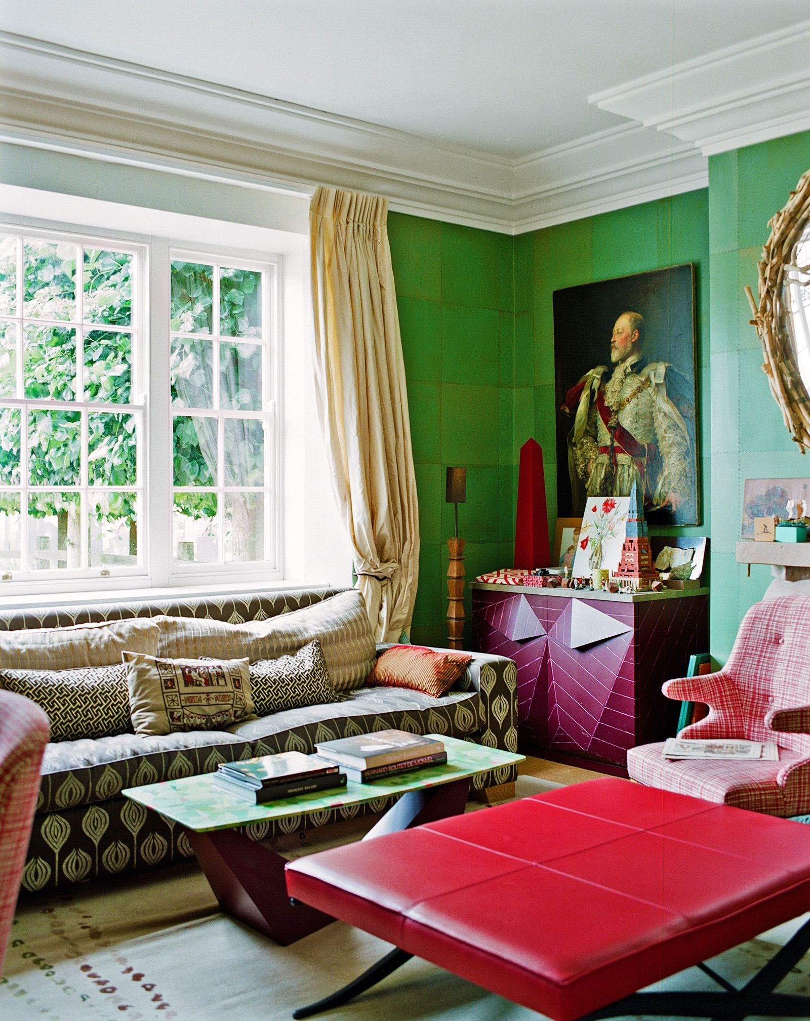 Is This The Most Stylish Country House In England?   Living Within Complete Cottage Curtain Sets With An Antique And Aubergine Grapvine Print (View 15 of 20)