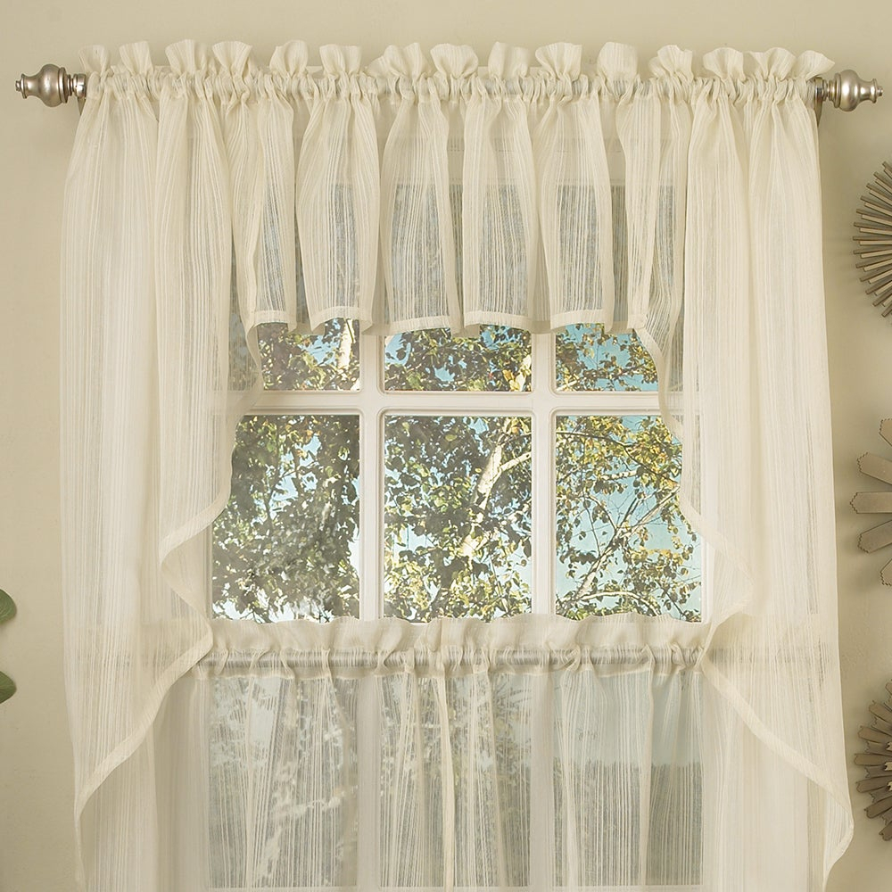 Ivory Micro Striped Semi Sheer Window Curtain Pieces – Tiers, Valance And Swag Options With White Tone On Tone Raised Microcheck Semisheer Window Curtain Pieces (View 3 of 20)