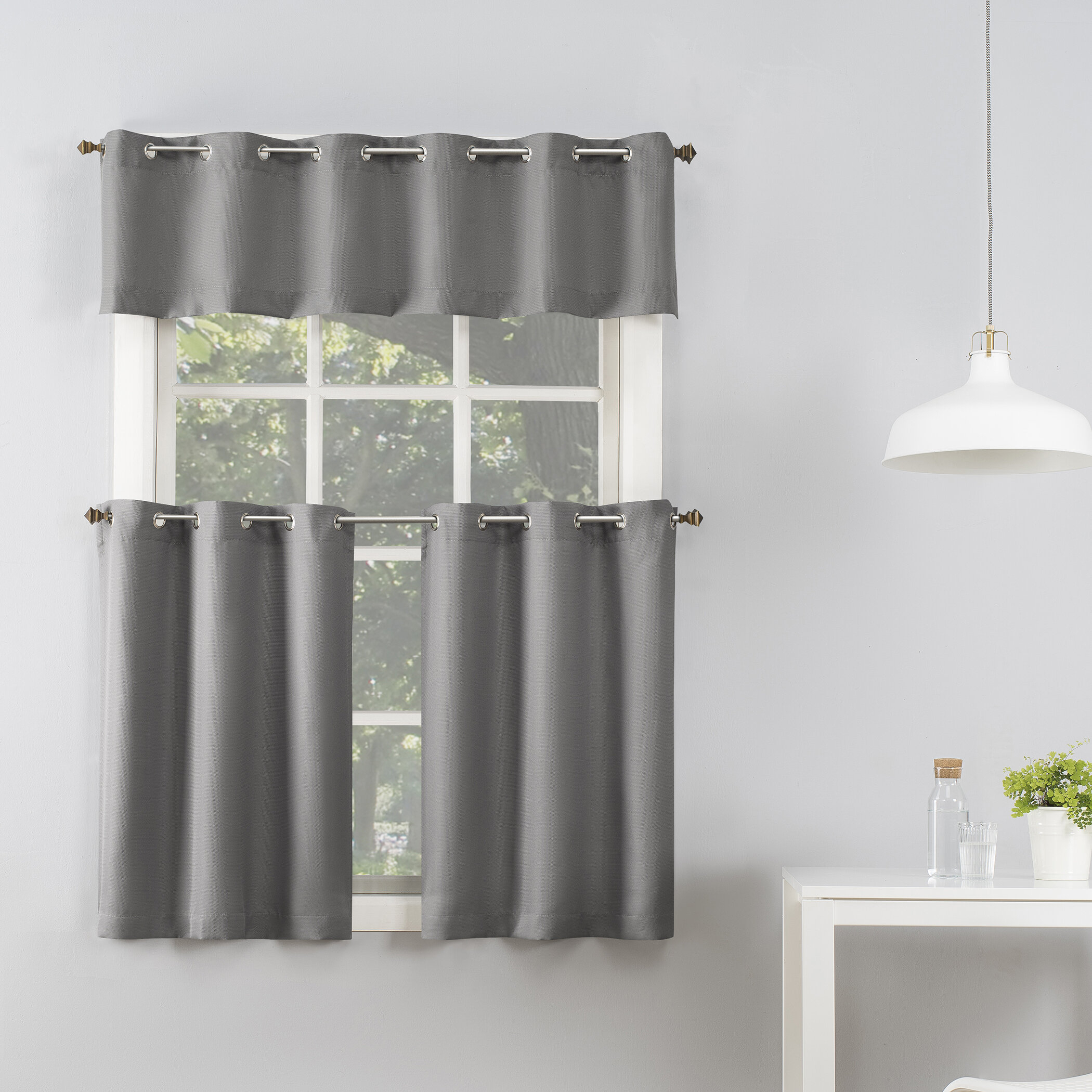 Jakubowski Casual Textured 3 Piece Semi Sheer Grommet Tier And Kitchen Window Valance Inside Semi Sheer Rod Pocket Kitchen Curtain Valance And Tiers Sets (View 11 of 20)