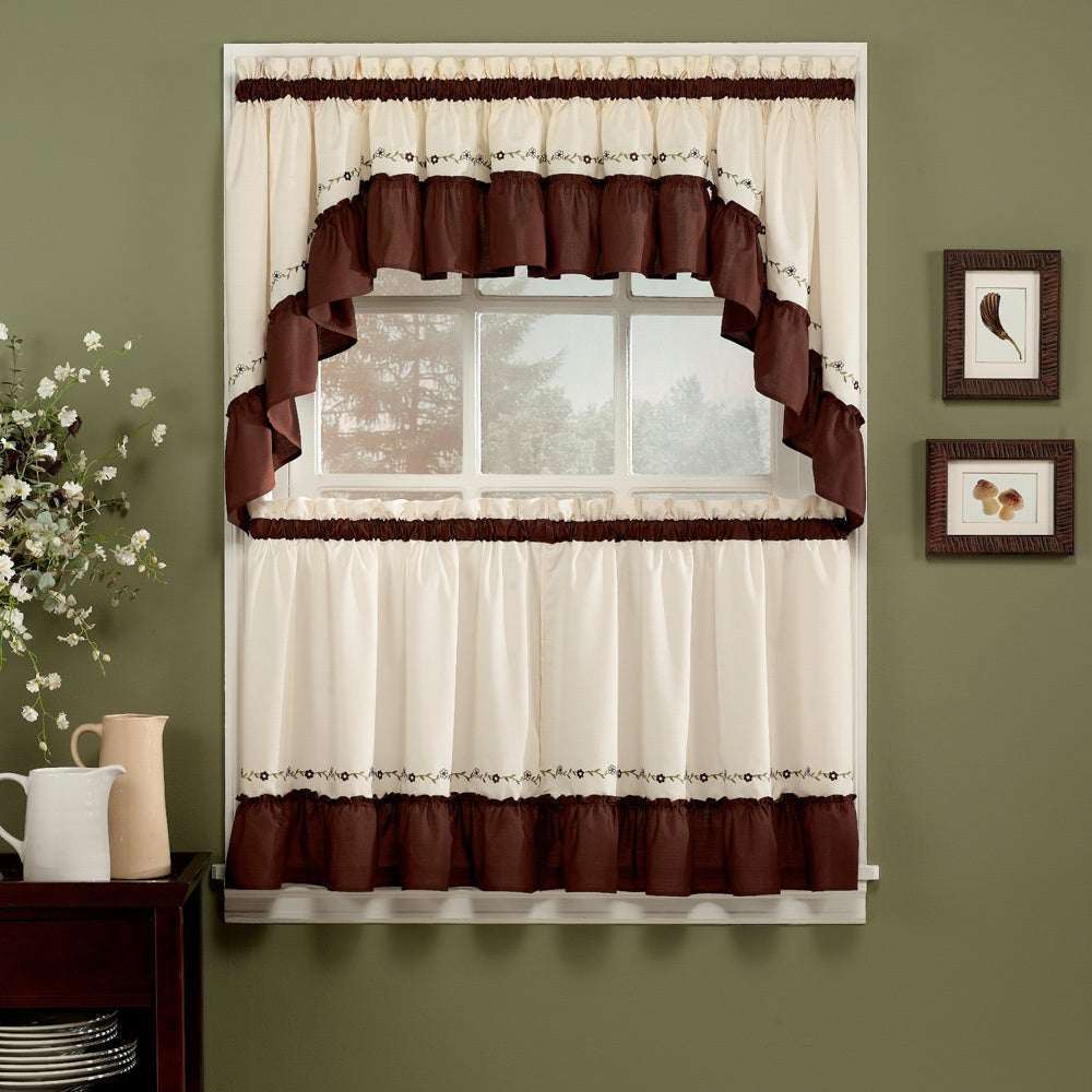 Jayden Chocolate 5 Piece Curtain Tier And Swag Set With Abby Embroidered 5 Piece Curtain Tier And Swag Sets (Image 14 of 20)