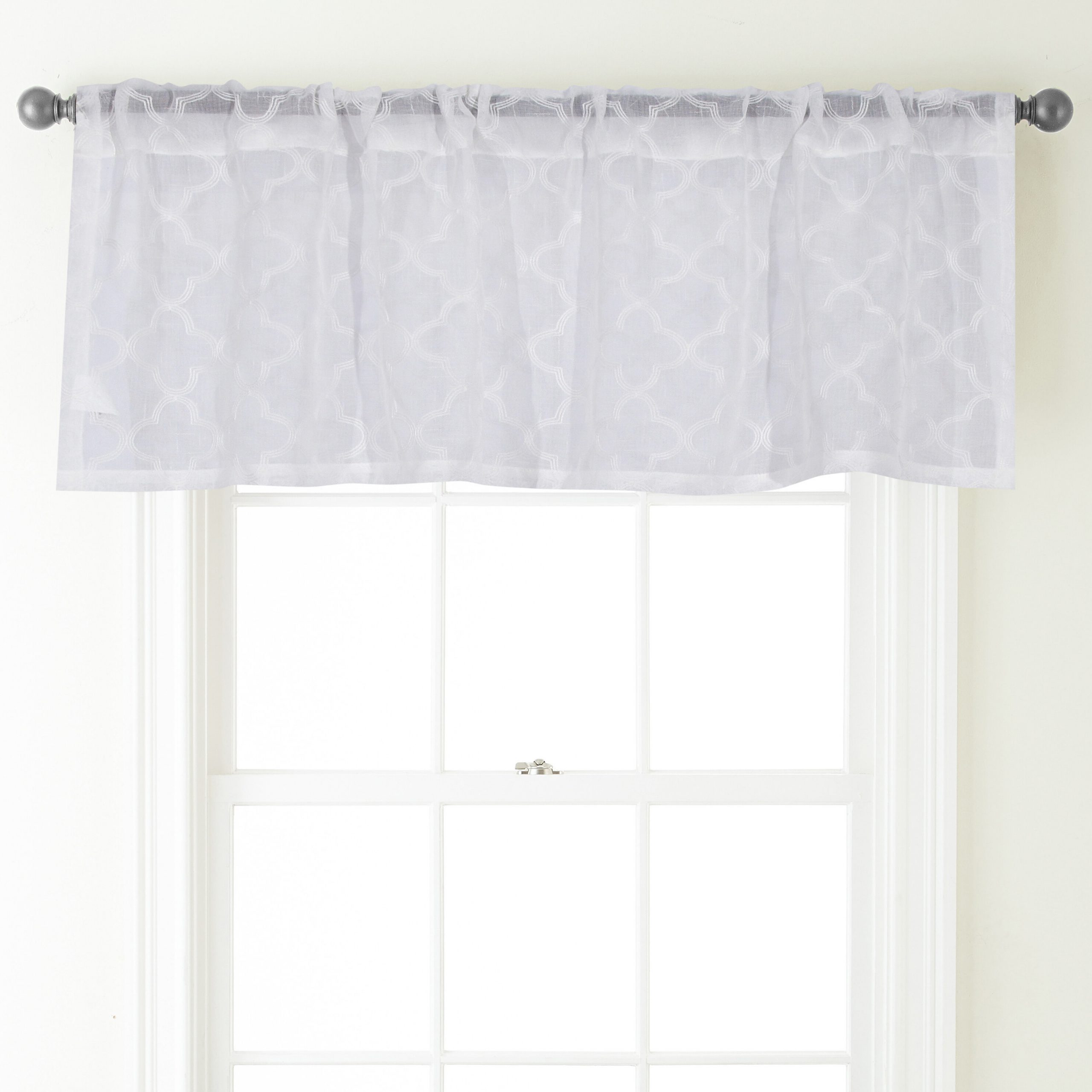 "Jess 54"" Curtain Window Valance Intended For White Tone On Tone Raised Microcheck Semisheer Window Curtain Pieces (View 17 of 20)"