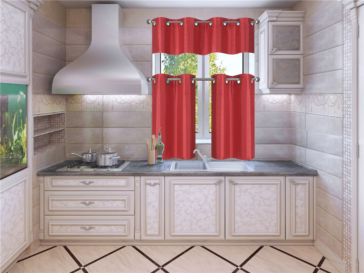 "K7 Red 3 Piece Solid Faux Silk Blackout Grommet Kitchen Window Curtain Set,  Two (2) Lined Tiers Panel 28""w X 24""l Each And One (1) Matching Lined In Faux Silk 3 Piece Kitchen Curtain Sets (Photo 18 of 20)"