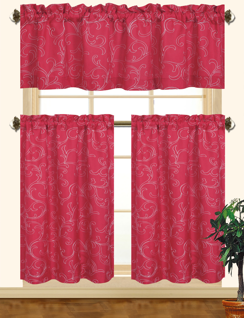 Kashi Home Chelsea 3pc Scroll Embroidered Decorative Kitchen Curtain Set (burgundy/white) Within Kitchen Burgundy/white Curtain Sets (View 6 of 20)