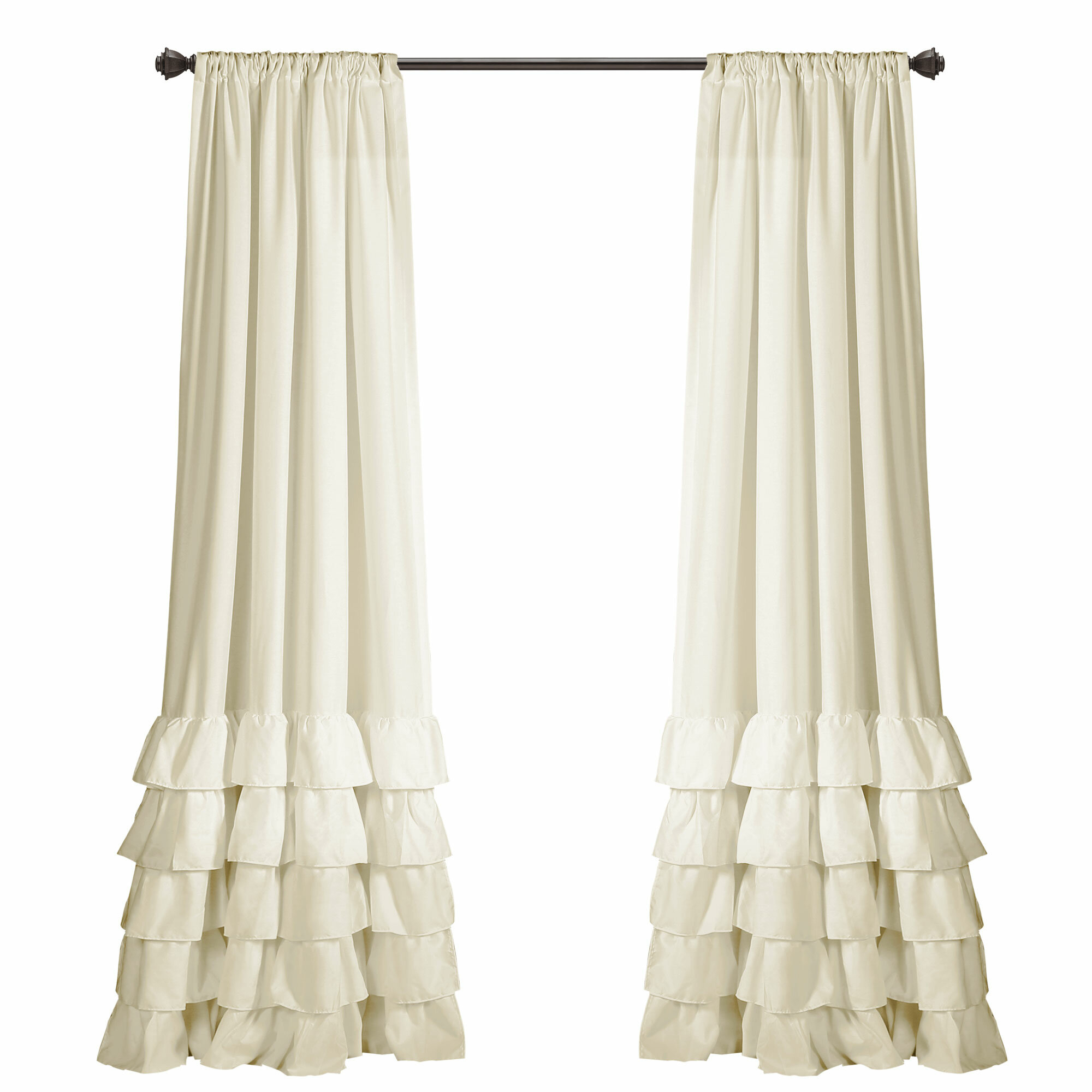 Keeley Ruffle Solid Semi Sheer Rod Pocket Curtain Panels With Rod Pocket Cotton Solid Color Ruched Ruffle Kitchen Curtains (Gallery 16 of 20)