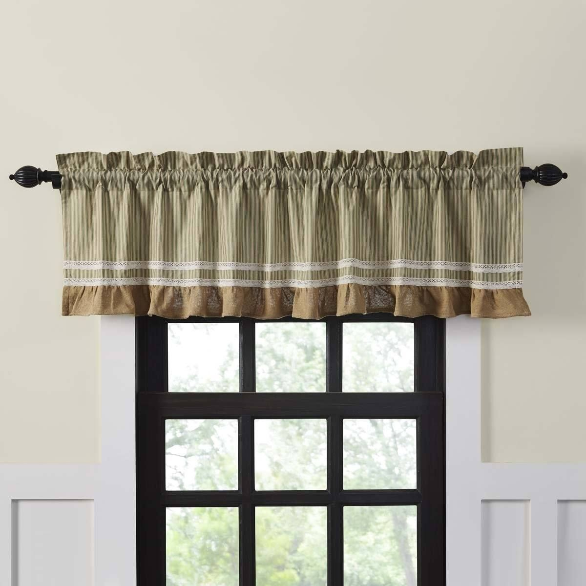 """Kendra Stripe Green Valance Lined 72""""   Primitive Home Decor Throughout Rod Pocket Cotton Striped Lace Cotton Burlap Kitchen Curtains (Gallery 3 of 20)"""
