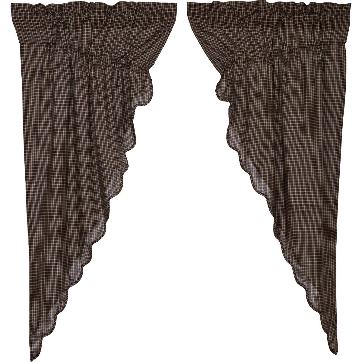 Kettle Grove Plaid Prairie Short Panel Curtain Scalloped Set Pertaining To Check Scalloped Swag Sets (Photo 1 of 20)