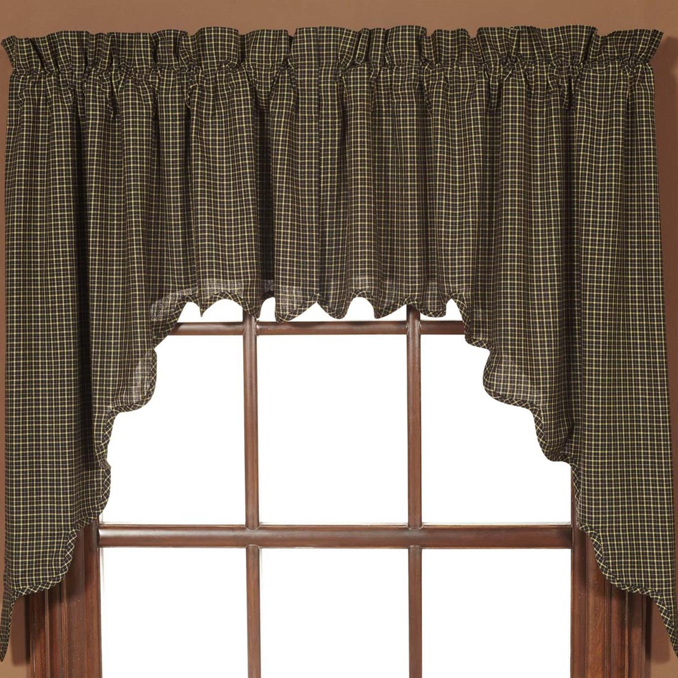Kettle Grove Plaid Swag Scalloped Set Of 2 36X36X16 Pertaining To Check Scalloped Swag Sets (Photo 14 of 20)