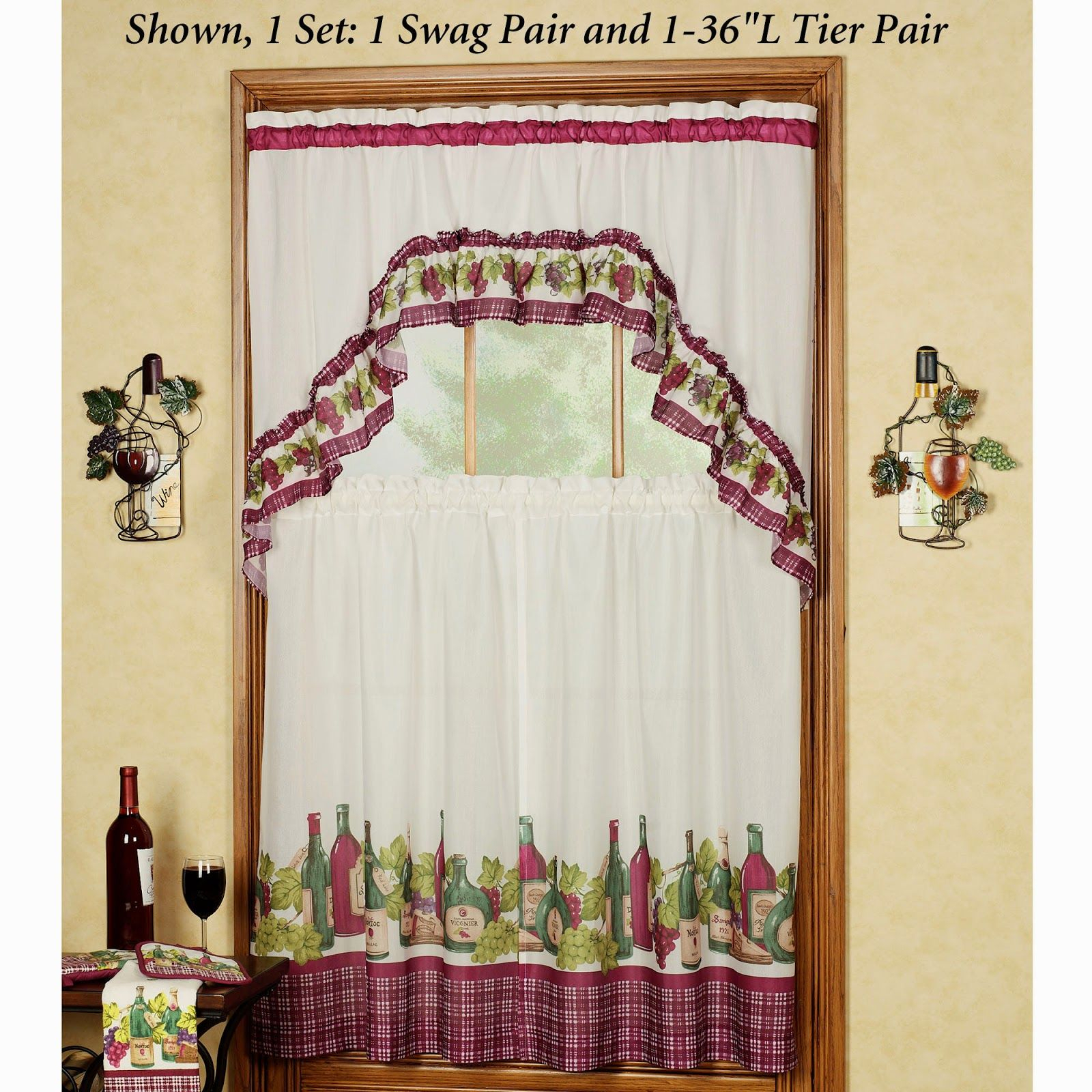 Kitchen Curtains Green Gingham. Kitchen Curtains Grapes And With Regard To Scroll Leaf 3 Piece Curtain Tier And Valance Sets (Gallery 12 of 20)