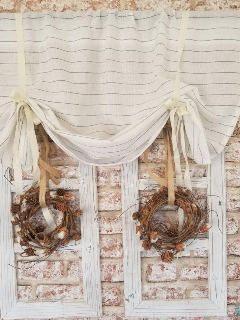 Kitchen Curtains, Striped Curtains, Linen Curtains, Farmhouse Curtains,  Cafe Curtains, Beige Curtains, Cottage Curtains, Kitchen Valance Throughout Linen Stripe Rod Pocket Sheer Kitchen Tier Sets (Gallery 13 of 20)