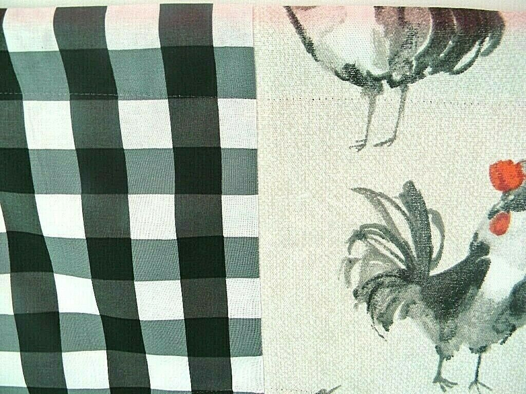 Kitchen Curtain~Window Valance~French Country~Rooster~Red~Gray~Black Check With Barnyard Buffalo Check Rooster Window Valances (Gallery 13 of 20)
