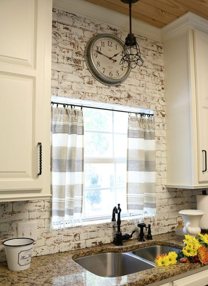Kitchen: Dishtowel Curtains Farmhouse Kitchen Decor Modern Pertaining To Modern Subtle Texture Solid Red Kitchen Curtains (Gallery 11 of 20)