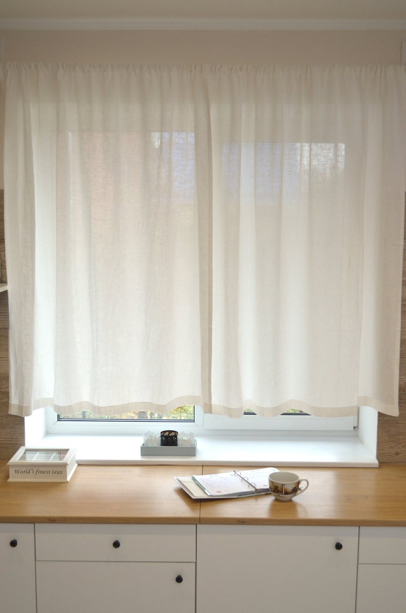 Kitchen Natural Linen Curtain Panel – Rod Pocket Cafe Curtains – White 26''  Width Custom Linen Drapes Throughout Rod Pocket Cotton Linen Blend Solid Color Flax Kitchen Curtains (Gallery 16 of 20)