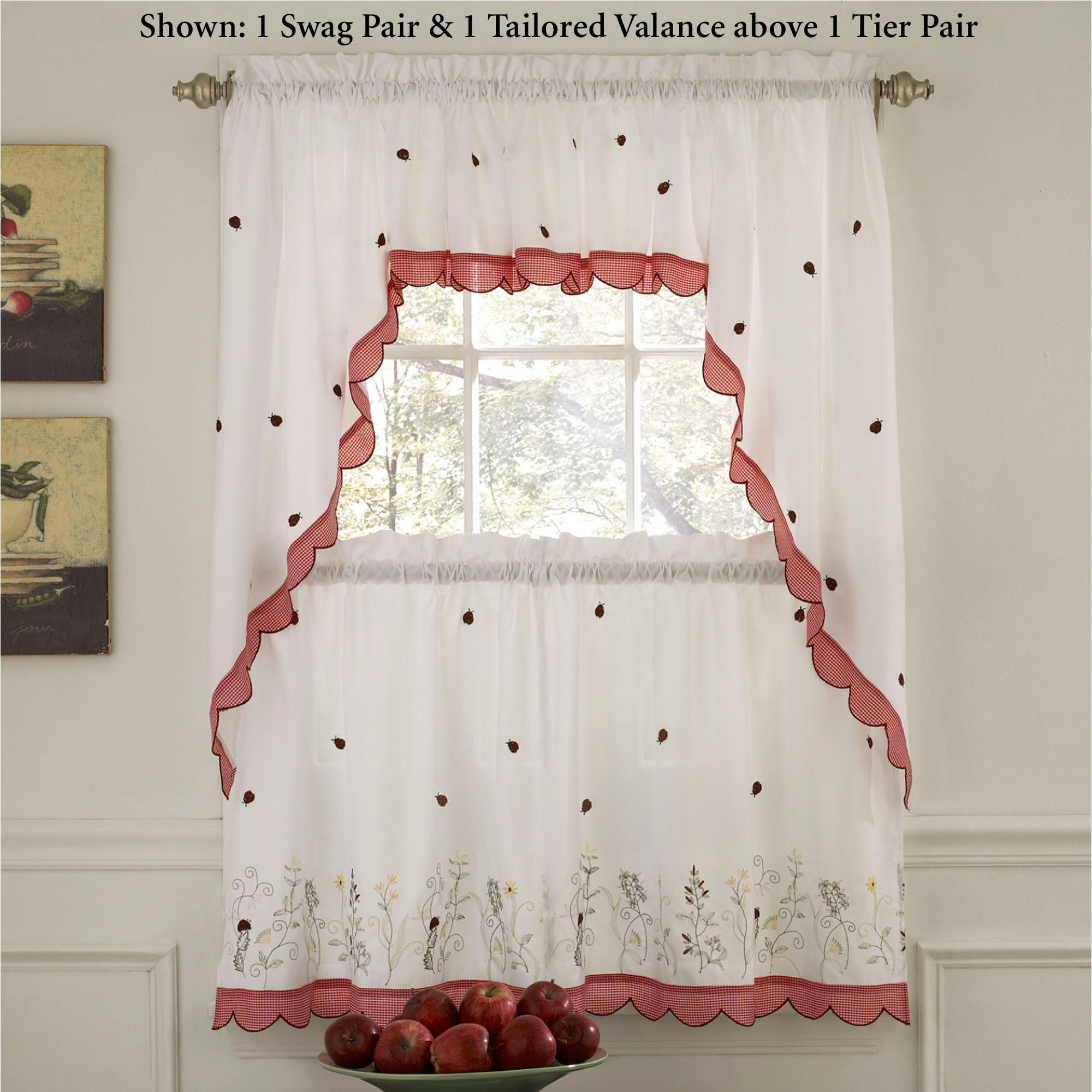 Kitchen Window Tier   Martinique For Hudson Pintuck Window Curtain Valances (Photo 11 of 20)